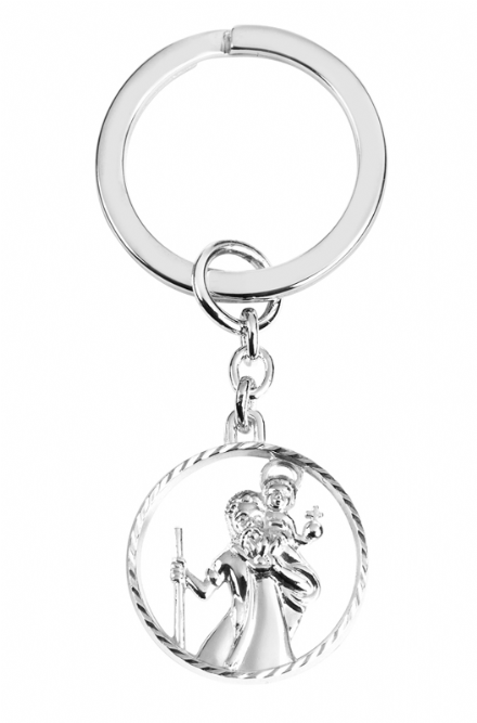 Sterling Silver Cut out St Christopher Keyring